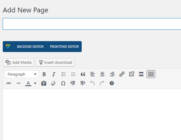 New Page – Visual Composer